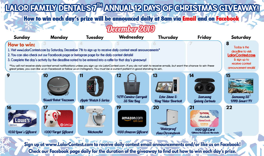 12 Days of Christmas 2019 Prizes LFD1 - Fun Patient Events
